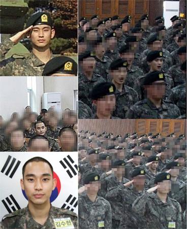 """""""入隊""""俳優キム・スヒョン、同期らと訓練中のようすを公開"""