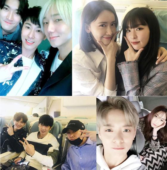 「東方神起」「少女時代」「SJ」らSM所属歌手がドバイ行き機内での和気あいあいとした姿を公開