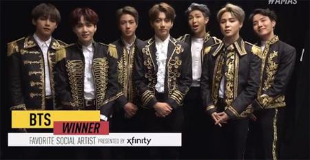 【公式】「防弾少年団」、米3大音楽授賞式「AMAs」で「Favorite Social Artist」受賞=K-POPグループ初