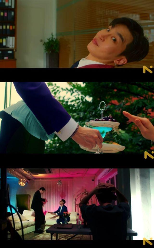 「BTS(防弾少年団)」のV、俳優のパク・ソジュンやチェ・ウシク、「ZE:A」のパク・ヒョンシク、モデル兼俳優のハン・ヒョンミンと推定される人物たちが登場し、MV本編に対する関心を高めた(画像提供:wowkorea)