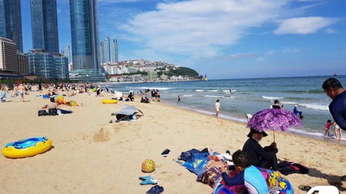 海雲台海水浴場に4万人…マスク着用で楽しむ姿、日光浴も2m維持=韓国釜山