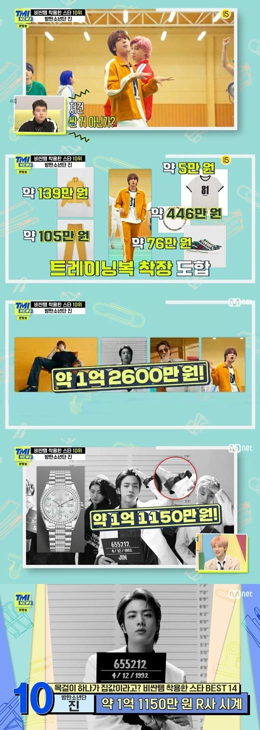 「TMIニュース」でグループ「BTS(防弾少年団)」のメンバーJINが「高いアイテムを着用したスター」10位を占めた。 (画像提供:Mydaily)